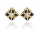 Fashion Black Enameled Golden Silver Earrings With Diamond Paste