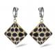 Fashion Black Enameled Silver Earrings