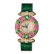 Yellow gold watch with diamonds, pink sapphires, tzavorite and Cabocon sapphires