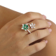 Double Emerald and Diamond Flower Open-Top Ring