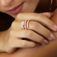 Red Gold Spiral Heart Ring