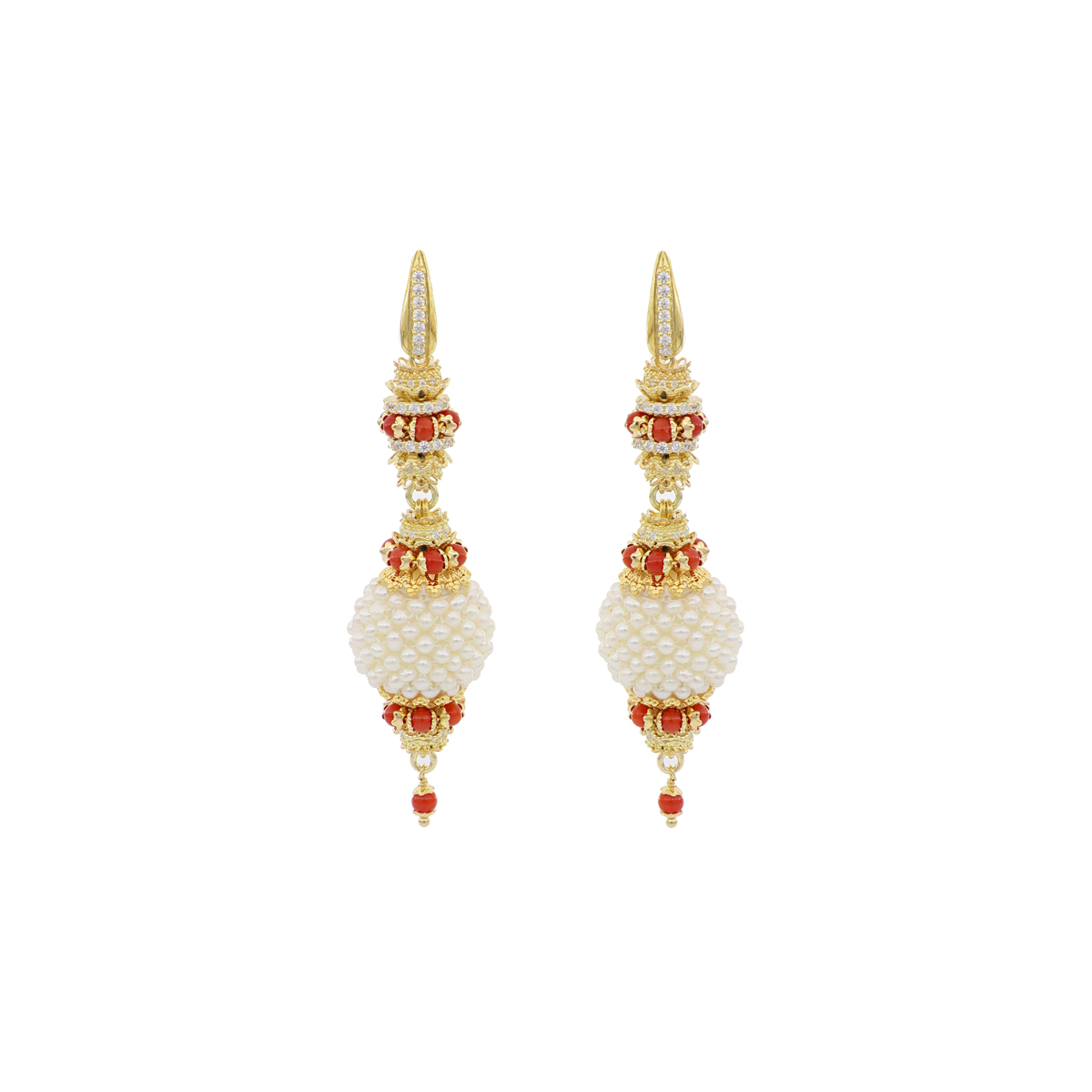 Pearls And Corals Baroque Earrings
