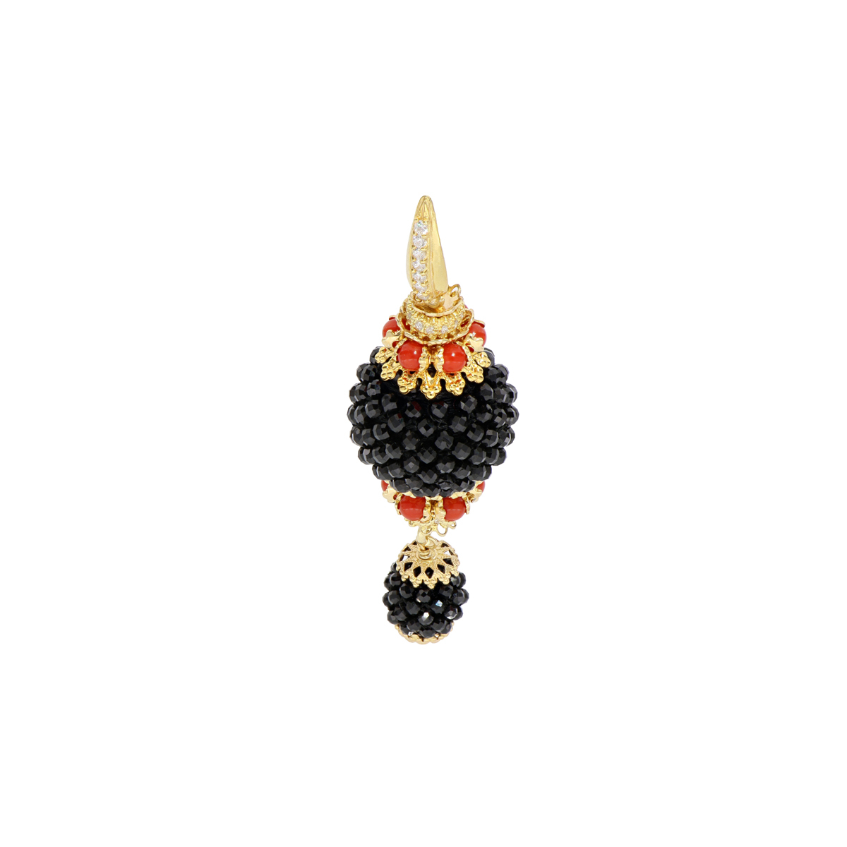 Corals And Onyxes Baroque Earrings