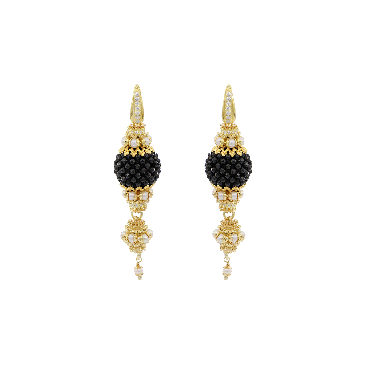 Pearls And Onyxes Baroque Earrings