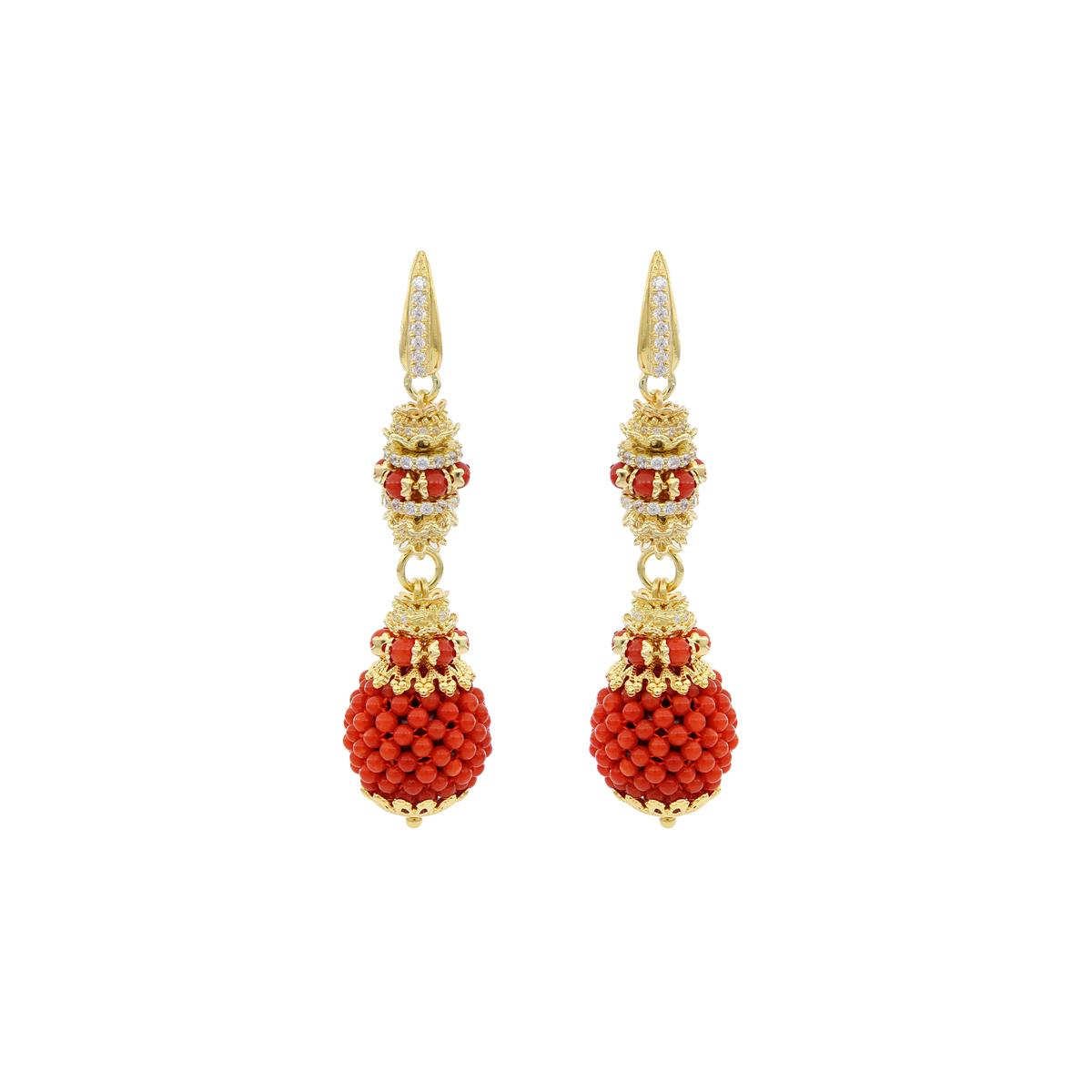 Coral Baroque Spheres Earrings