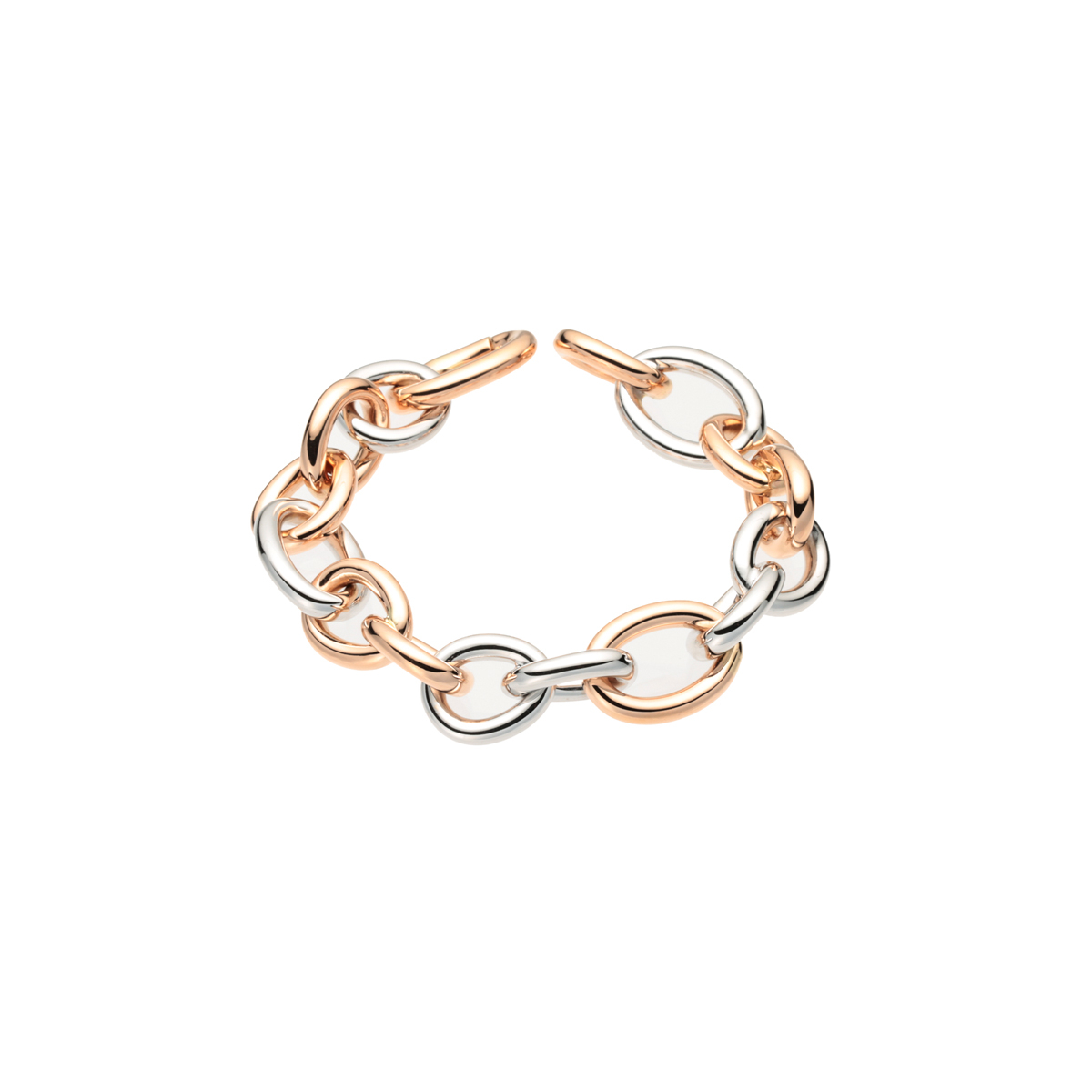White and Rose Gold Link Chain Bracelet