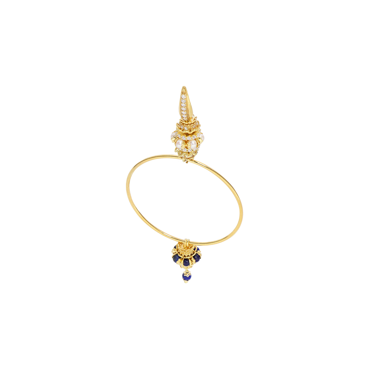 Pearls And Lapis Hoop Mine Circle Earrings