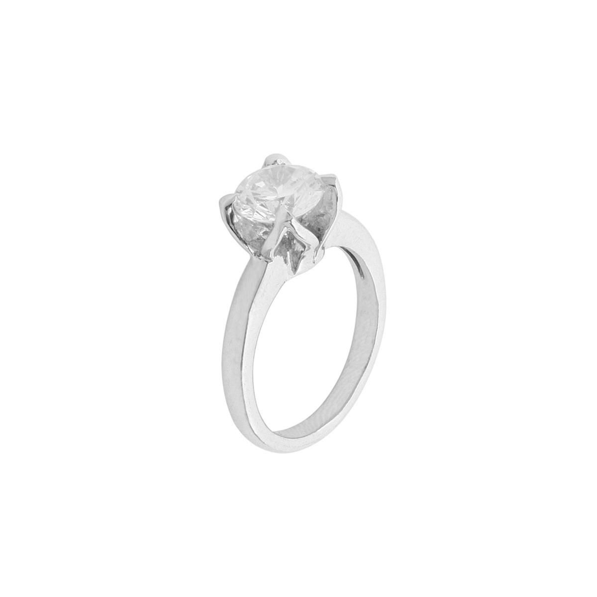 Concave Diamond Solitaire Ring