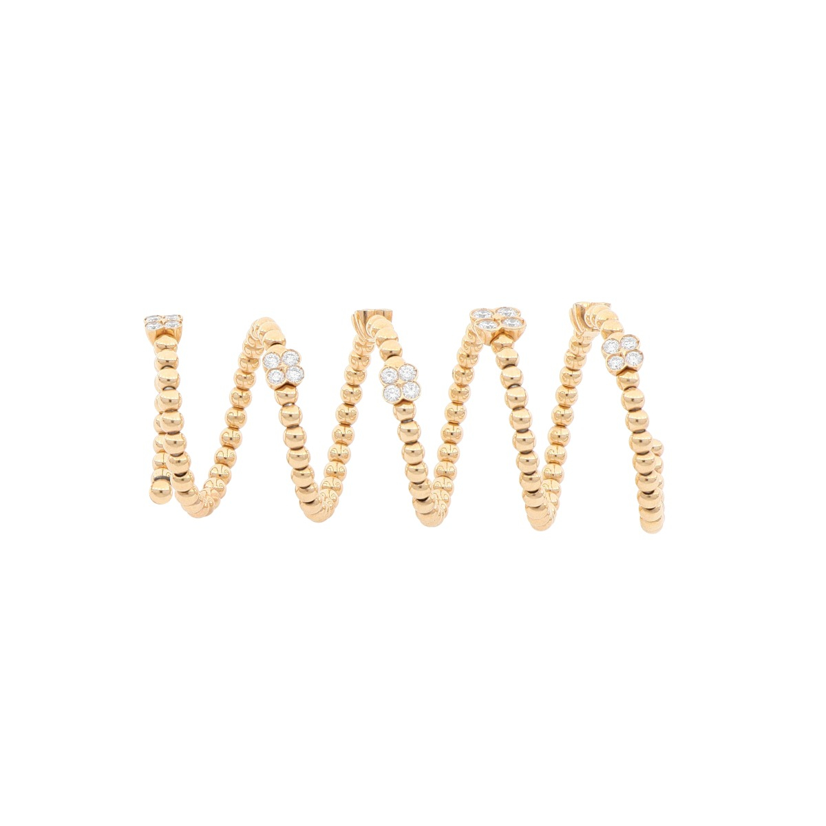 Spiral Dot Ring with Diamonds in Rose Gold