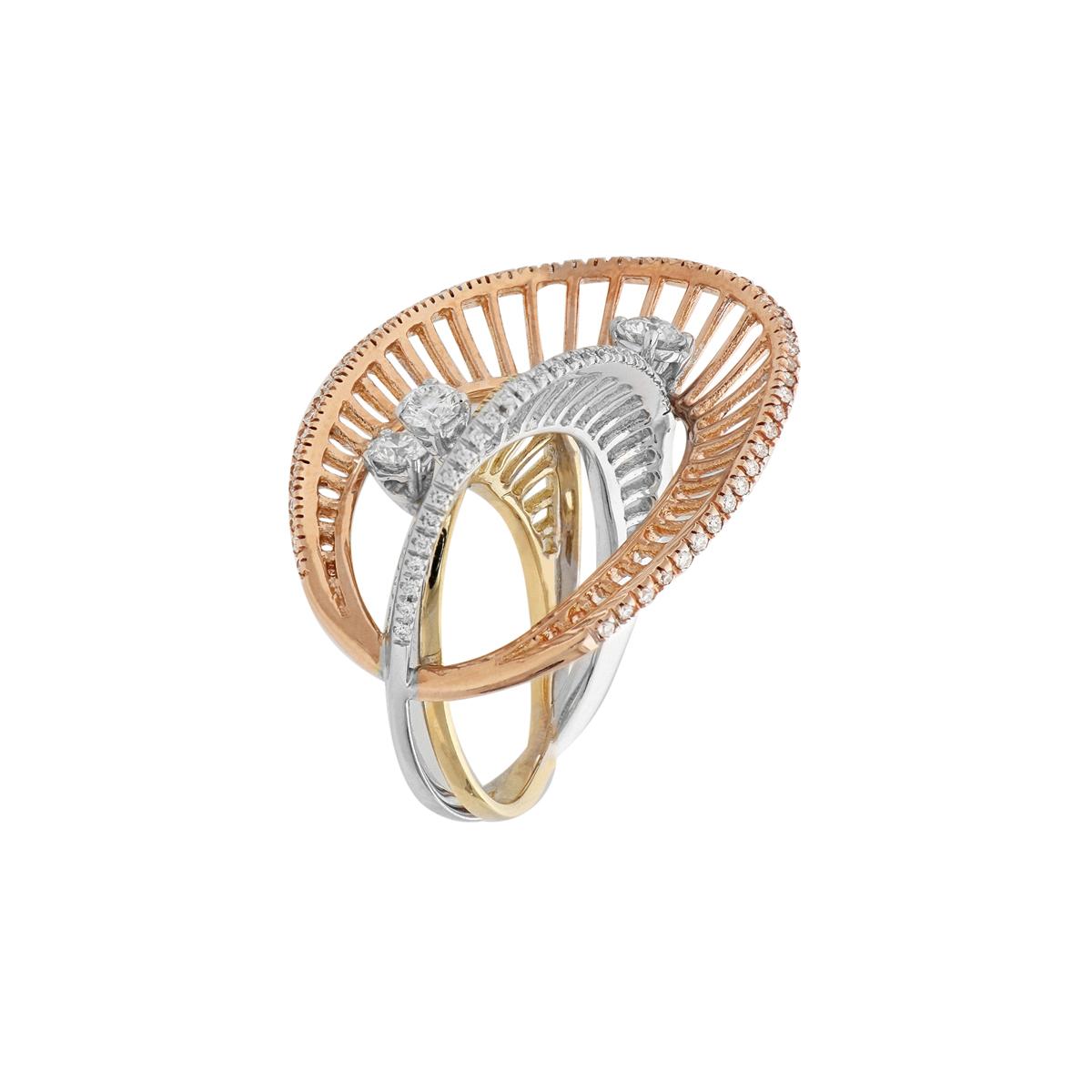 Triple Gold Ellipses Ring