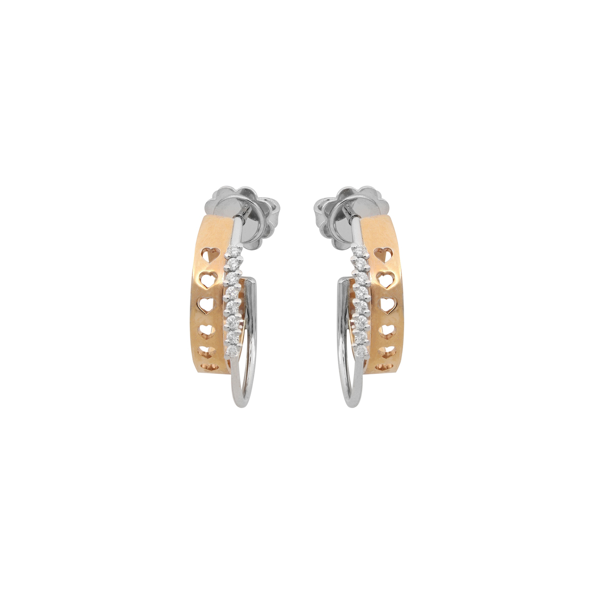 Cut-Out Heart Earrings with Diamonds