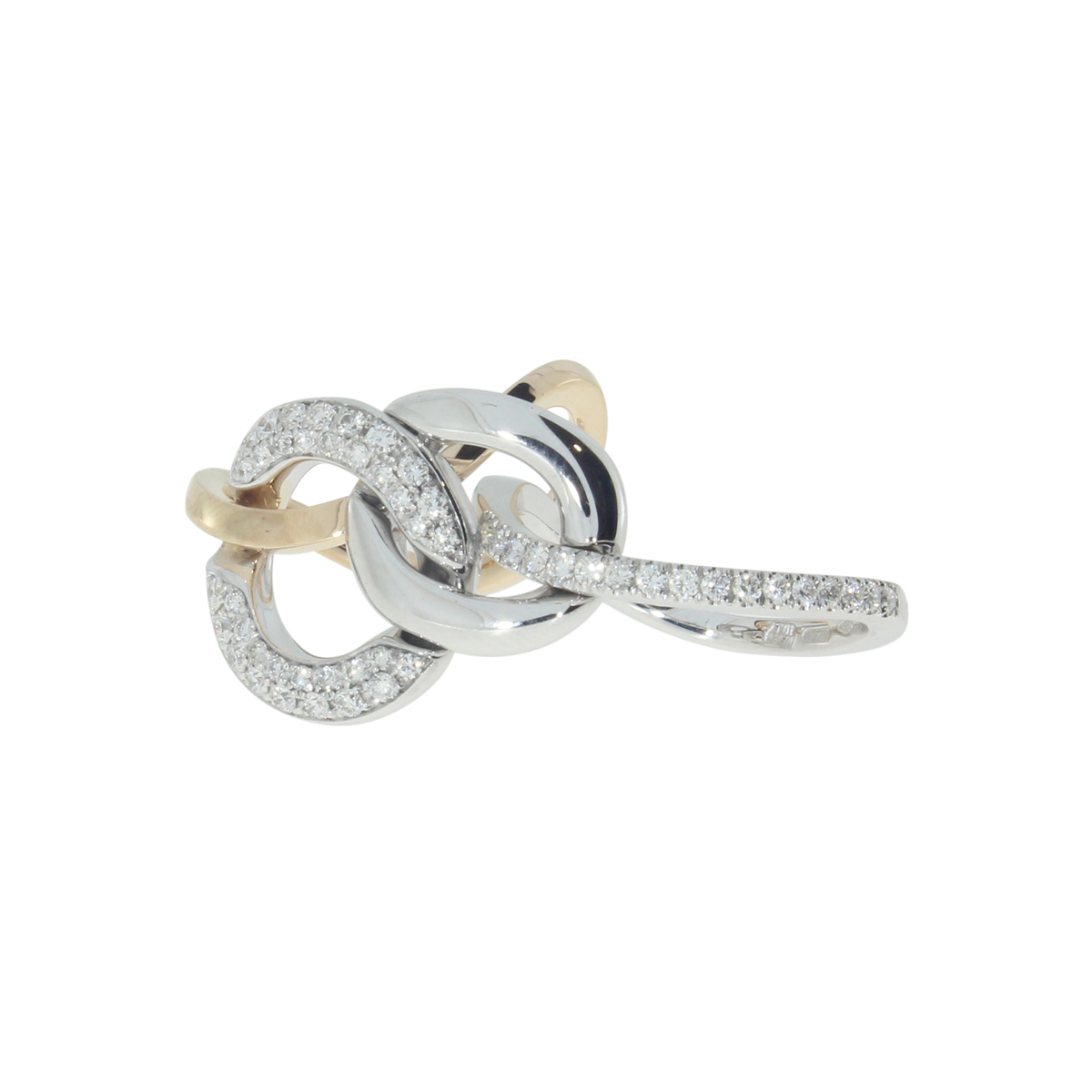 18 Kt White Gold Link Ring with Diamonds