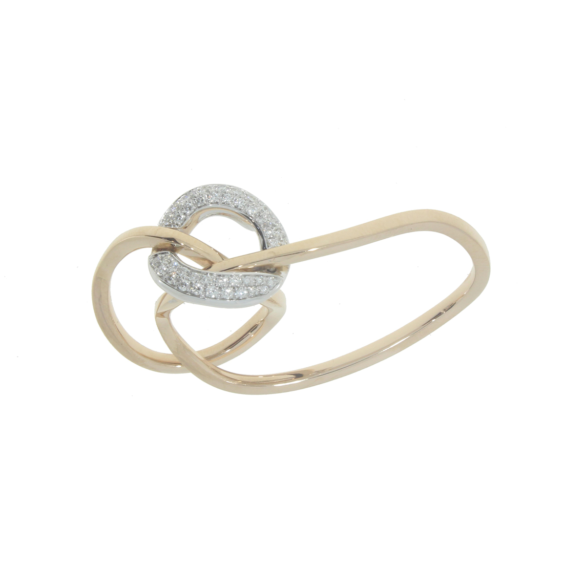 18 Kt Yellow Gold Link Ring with Diamonds