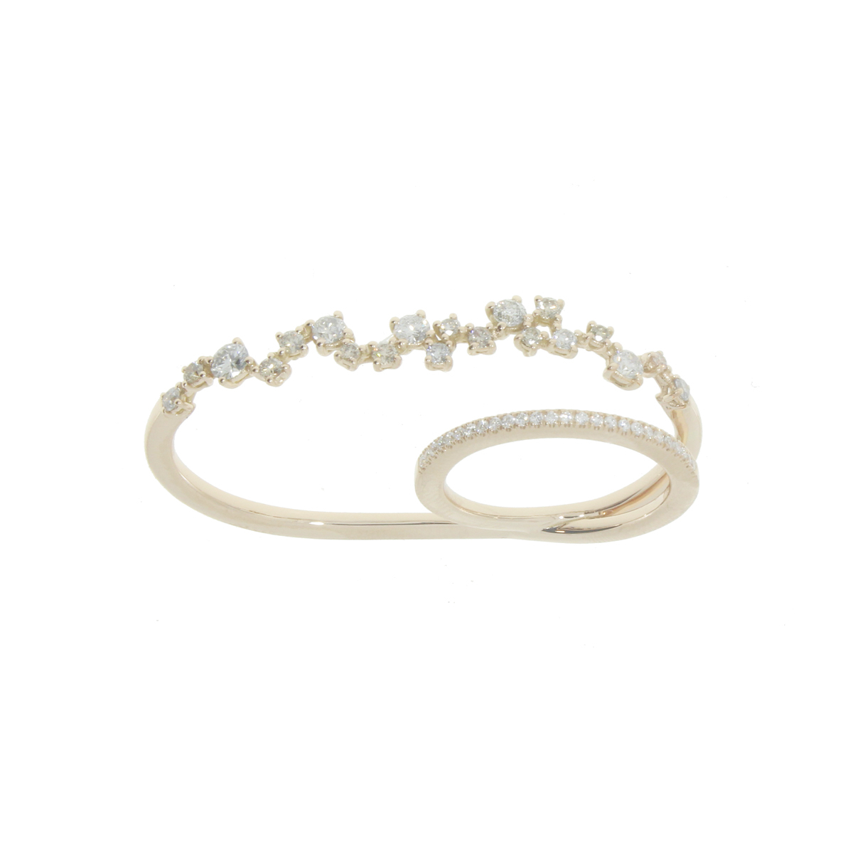 18Kt Yellow Gold Two-Finger Ring with Diamonds