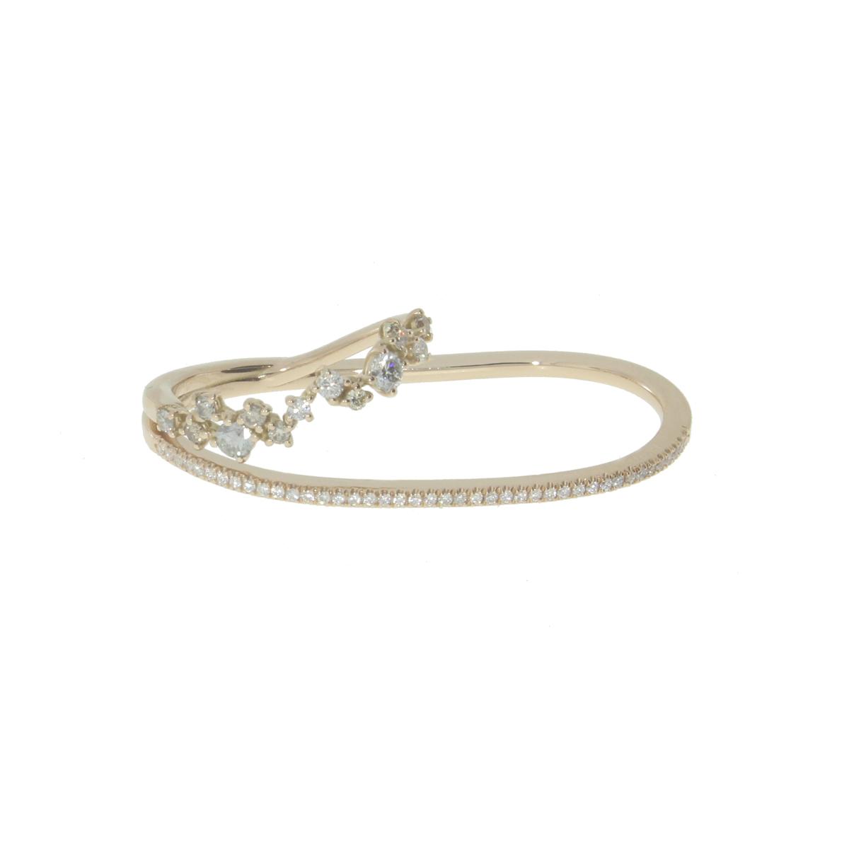 Diamond Two-Finger Ring in 18 Kt White Gold