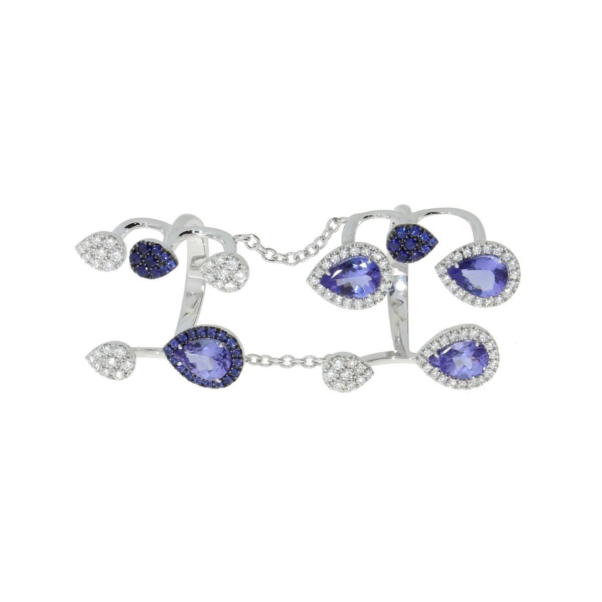 Sapphire and Diamond Drop Chain Ring
