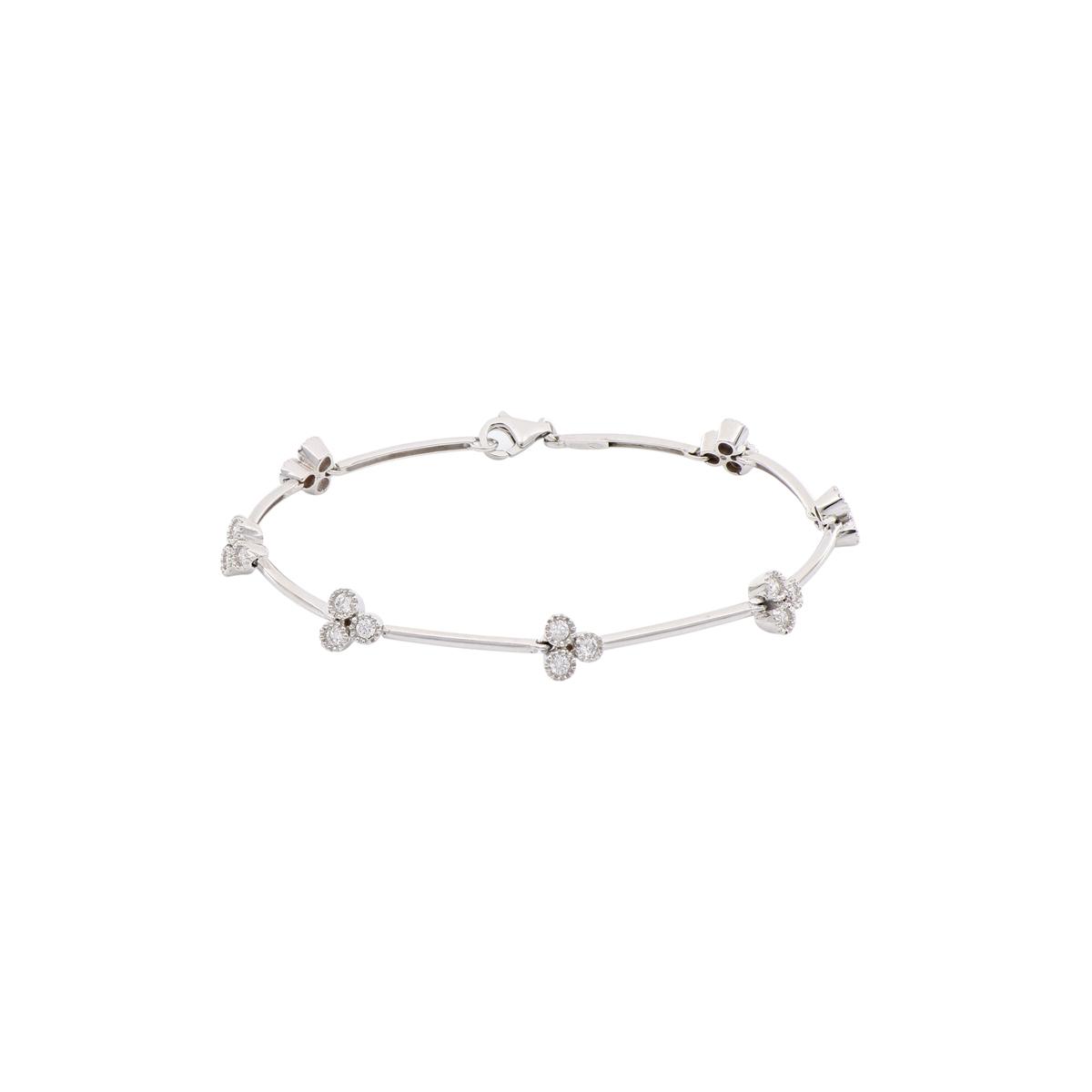 White Gold Bar Link Bracelet with Diamonds