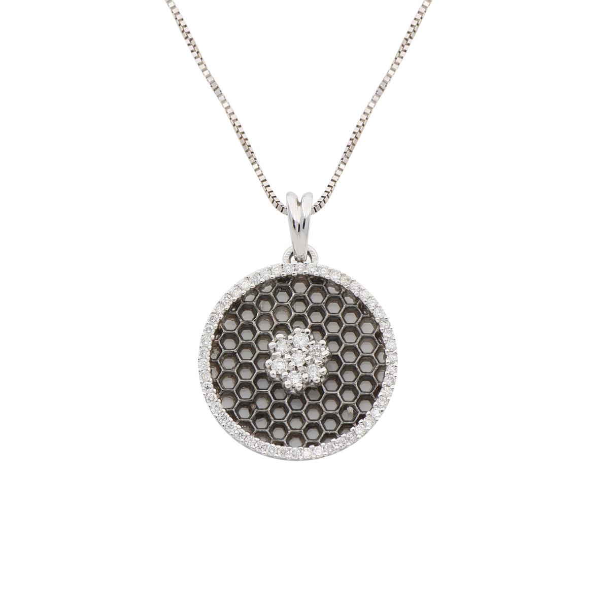 Honeycomb Diamond Pendant Necklace
