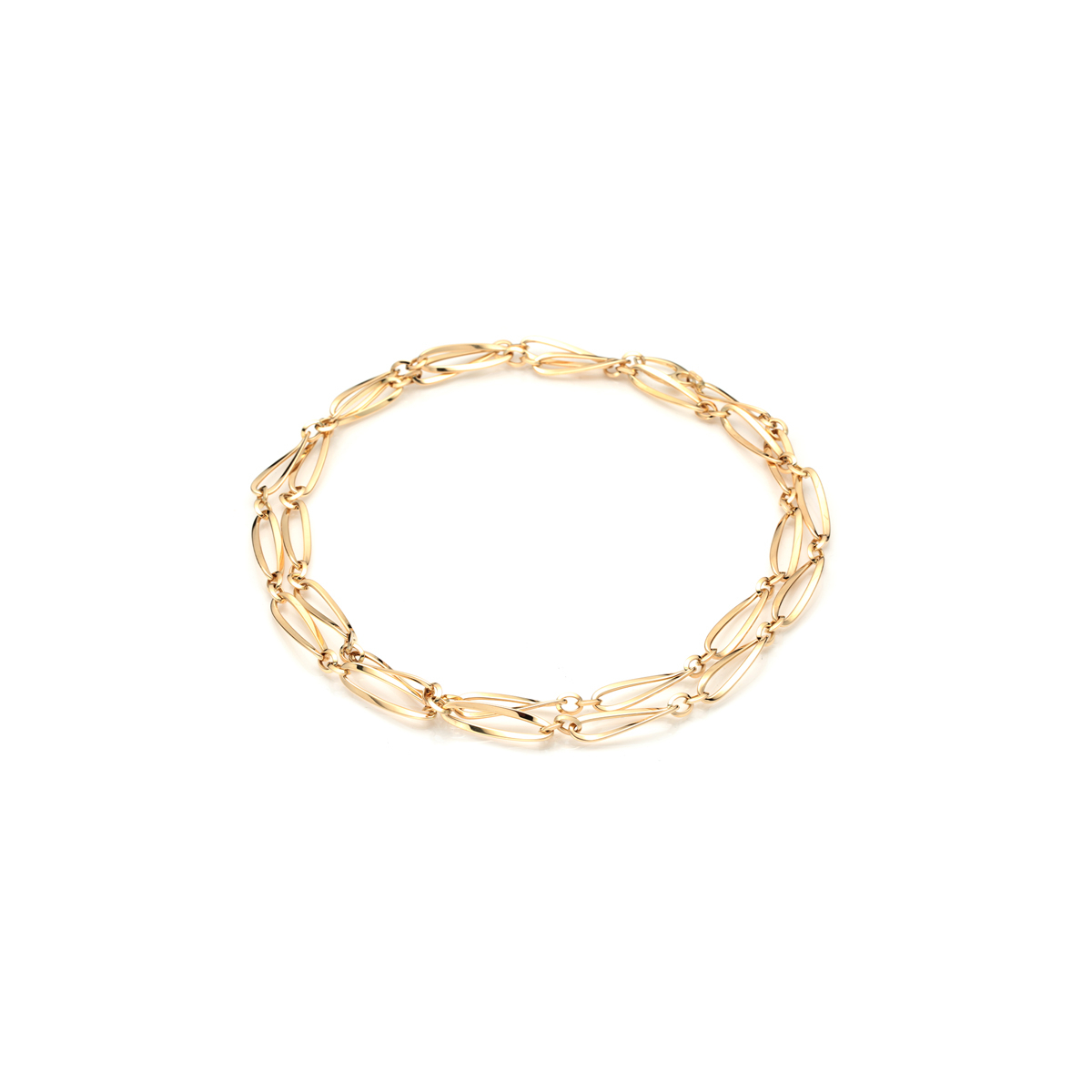Double Link Necklace in Yellow Gold