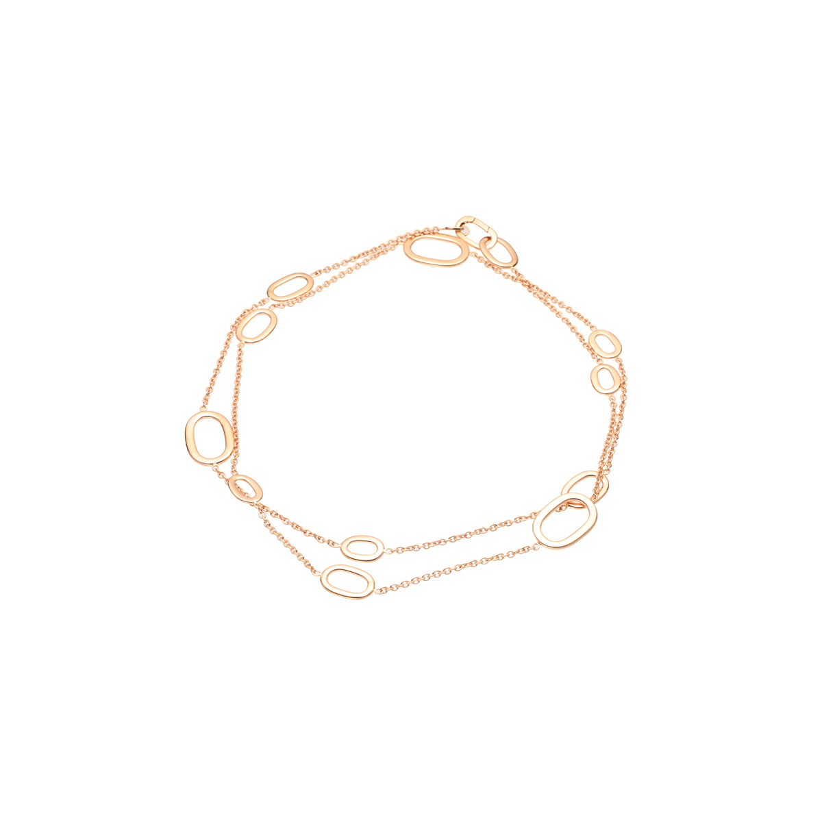Flat Double Chain Necklace in Yellow Gold