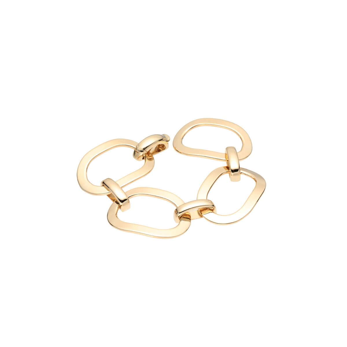 Flat Yellow Gold Link Chain Bracelet