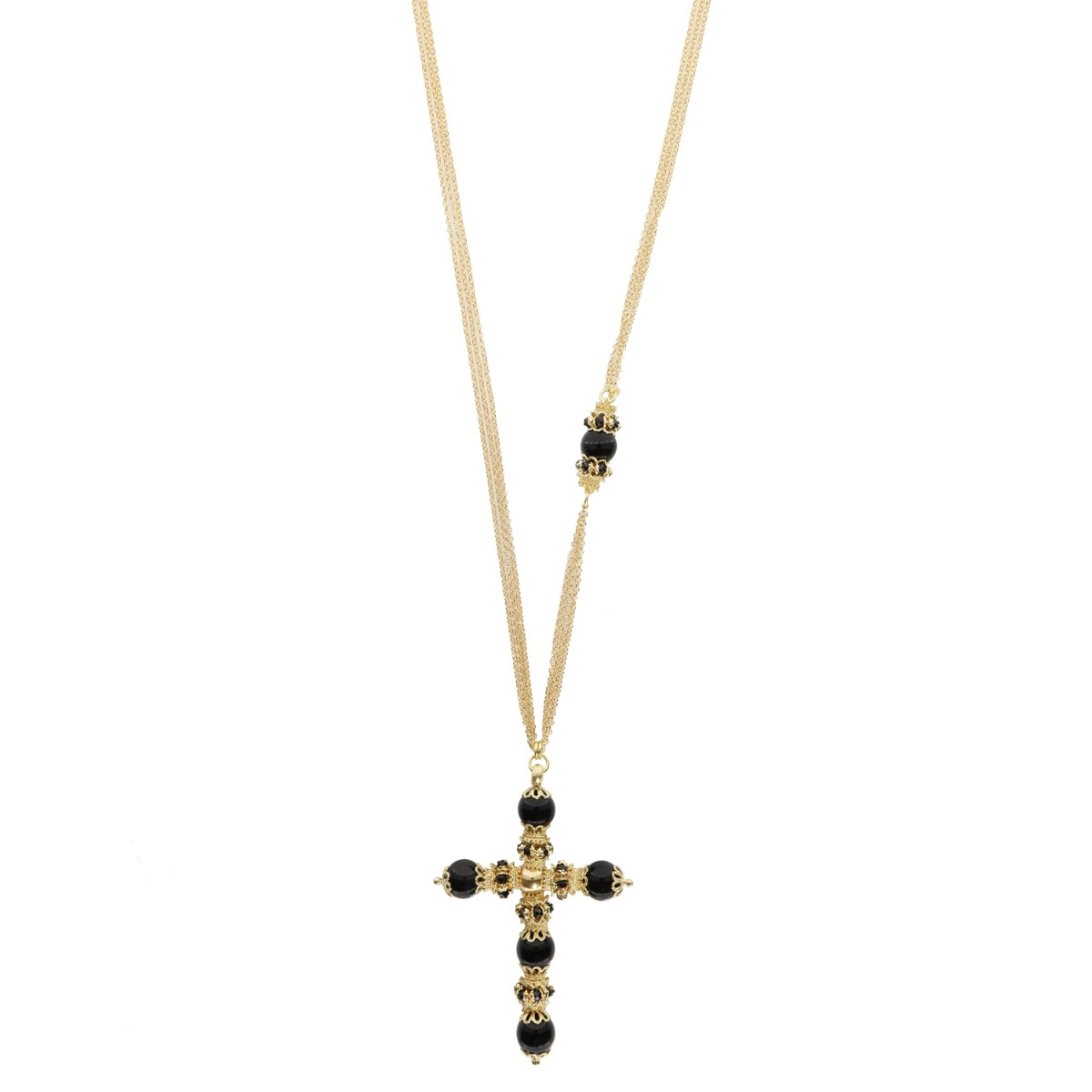 Cross Of Onyxes And Spinels Necklace