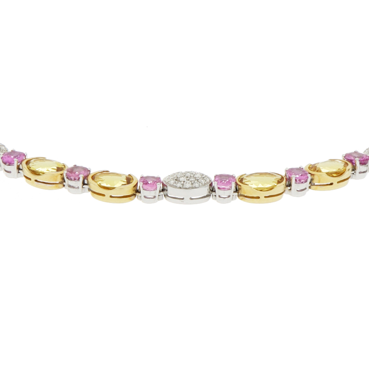Pink Sapphire and Yellow Beryl Necklace