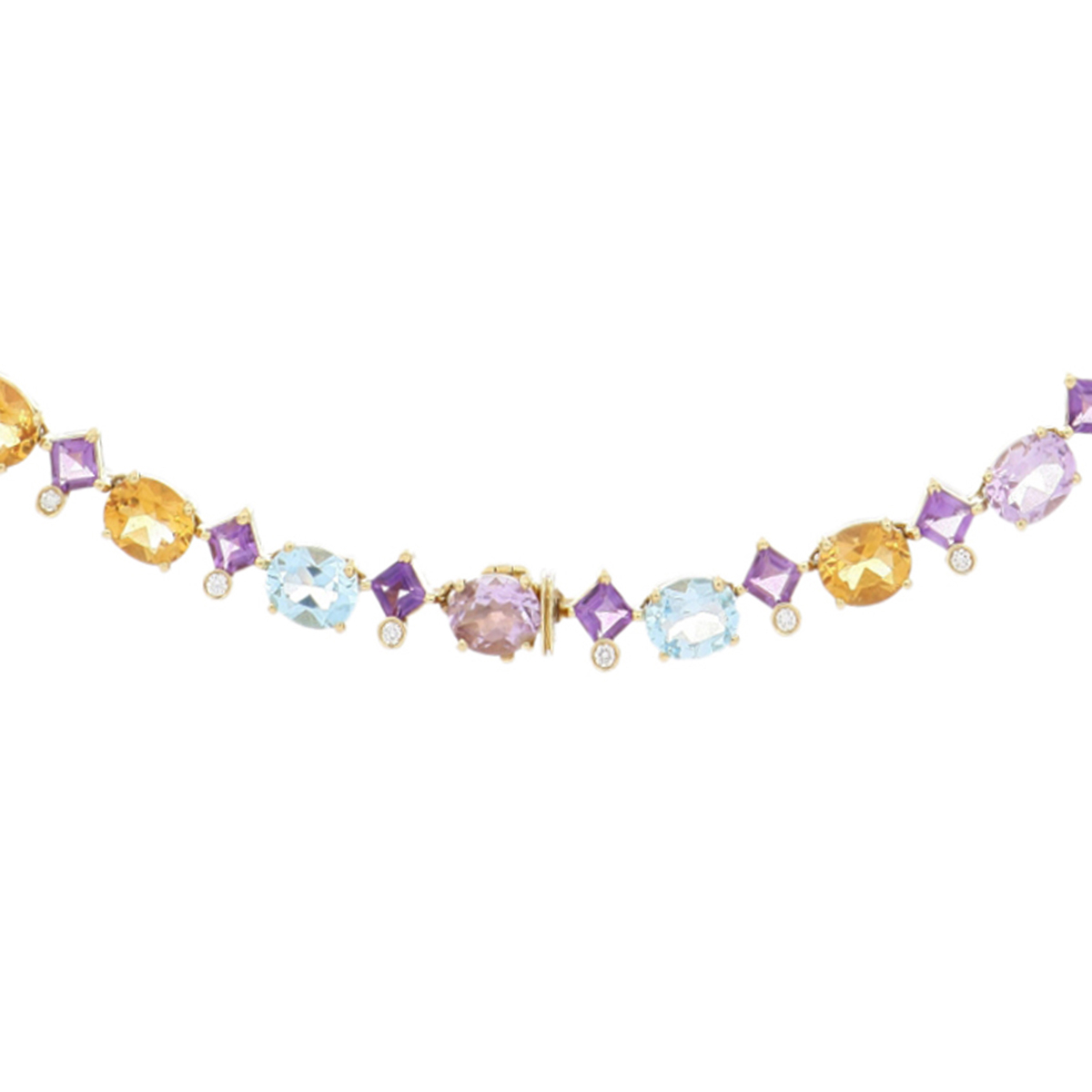 Yellow Gold Multi-Gem Necklace with Diamonds