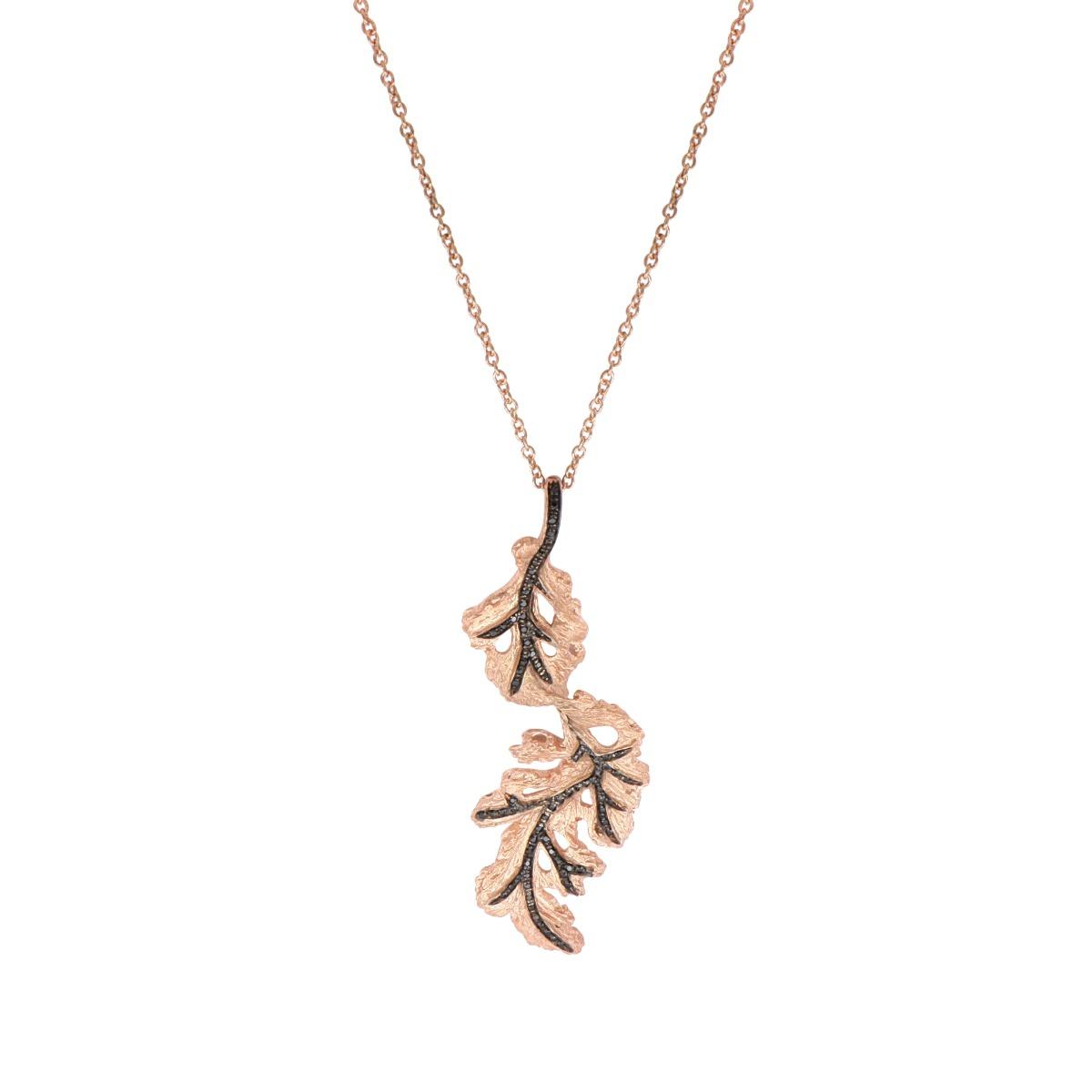 Oak Leaf Diamond Necklace in Rose Gold