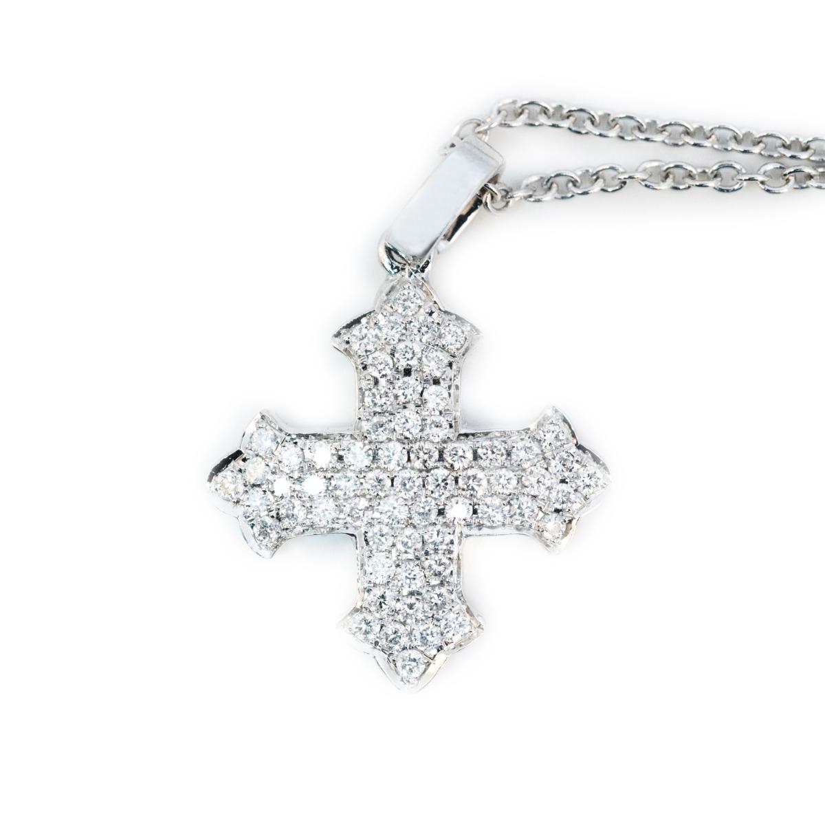 Diamond-Encrusted Cross Pendant Necklace