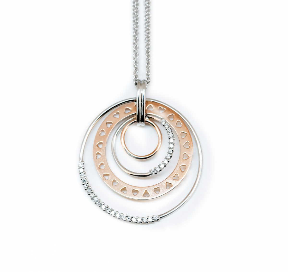 Four Circle Pendant Necklace with Diamonds
