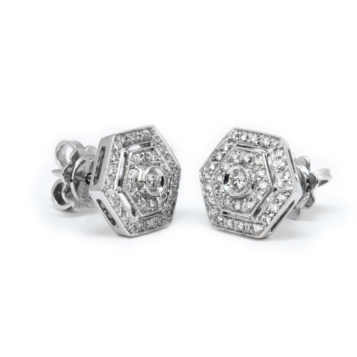 Hexagon-Shaped Diamond Earrings in White Gold