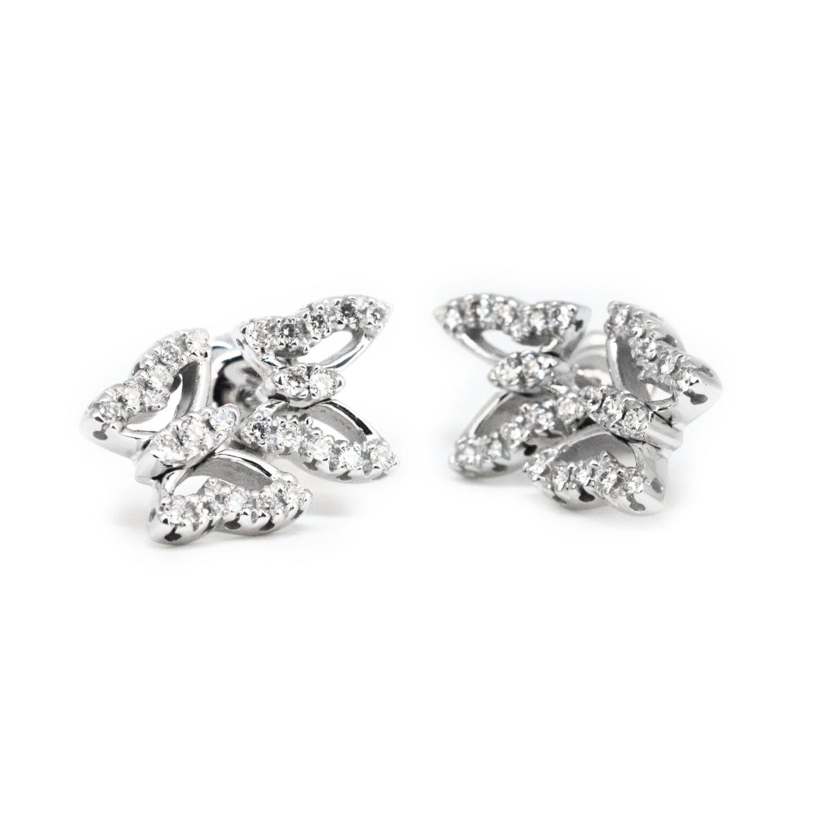 Silhouette Diamond Butterfly Stud Earrings