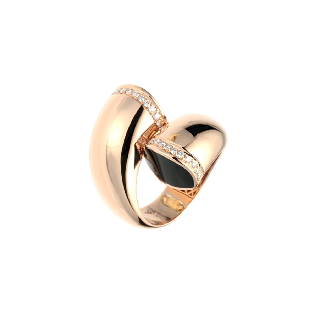 Rose Gold Bypass Ring with Onyx Stones and Diamonds