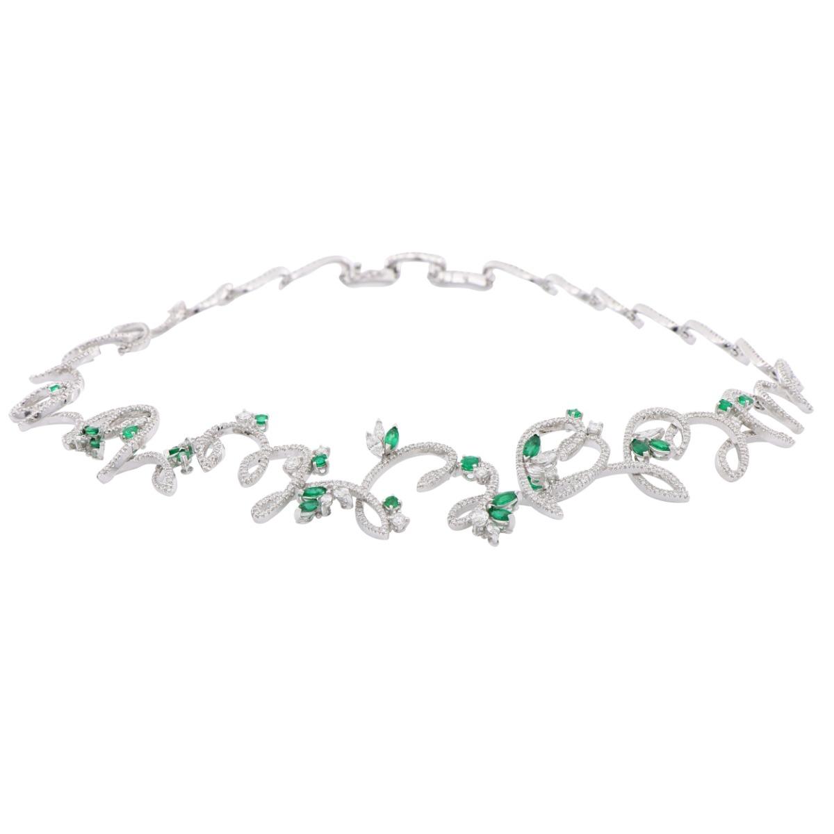 Emerald and Diamond Leaf Necklace