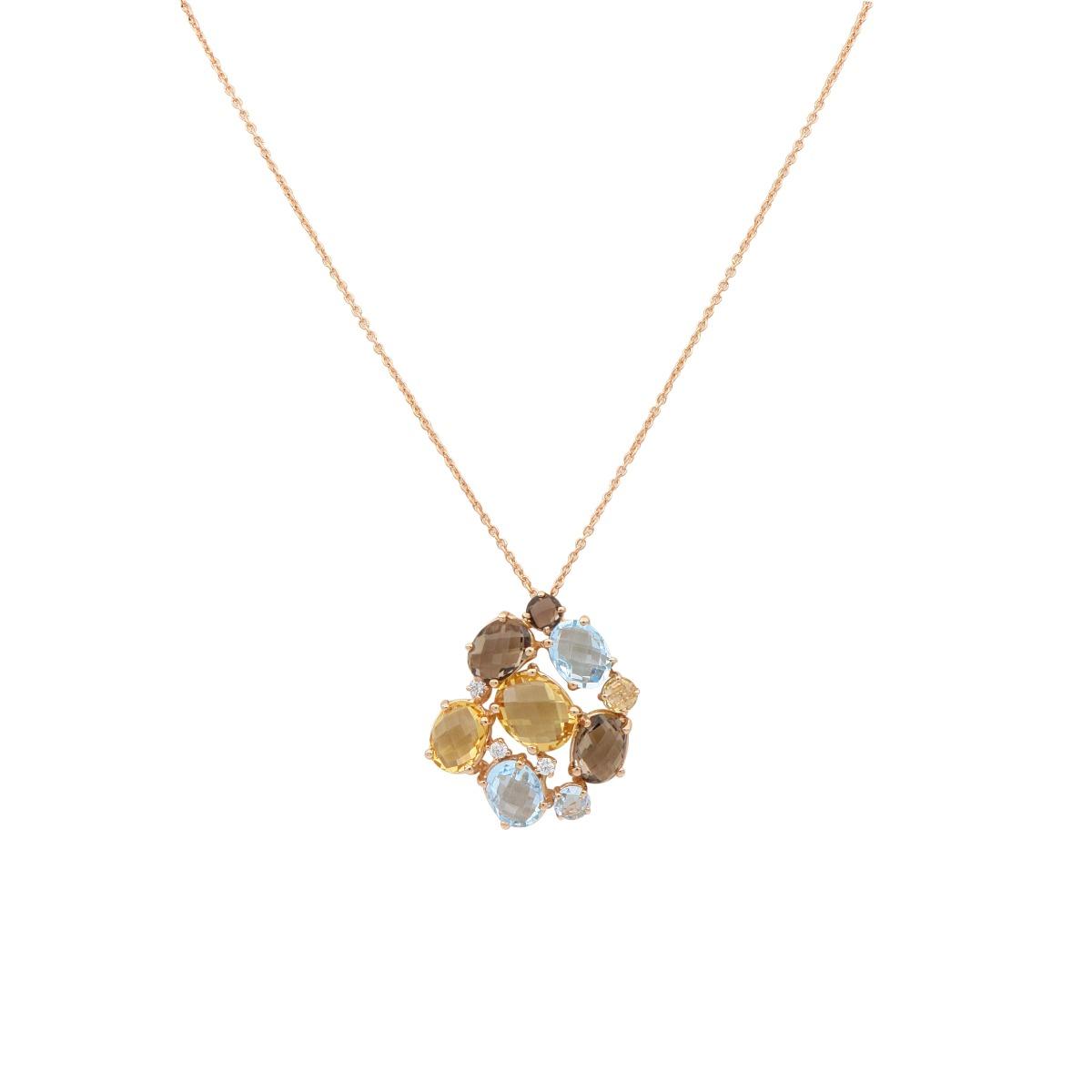 Multi-Gem Pendant Necklace
