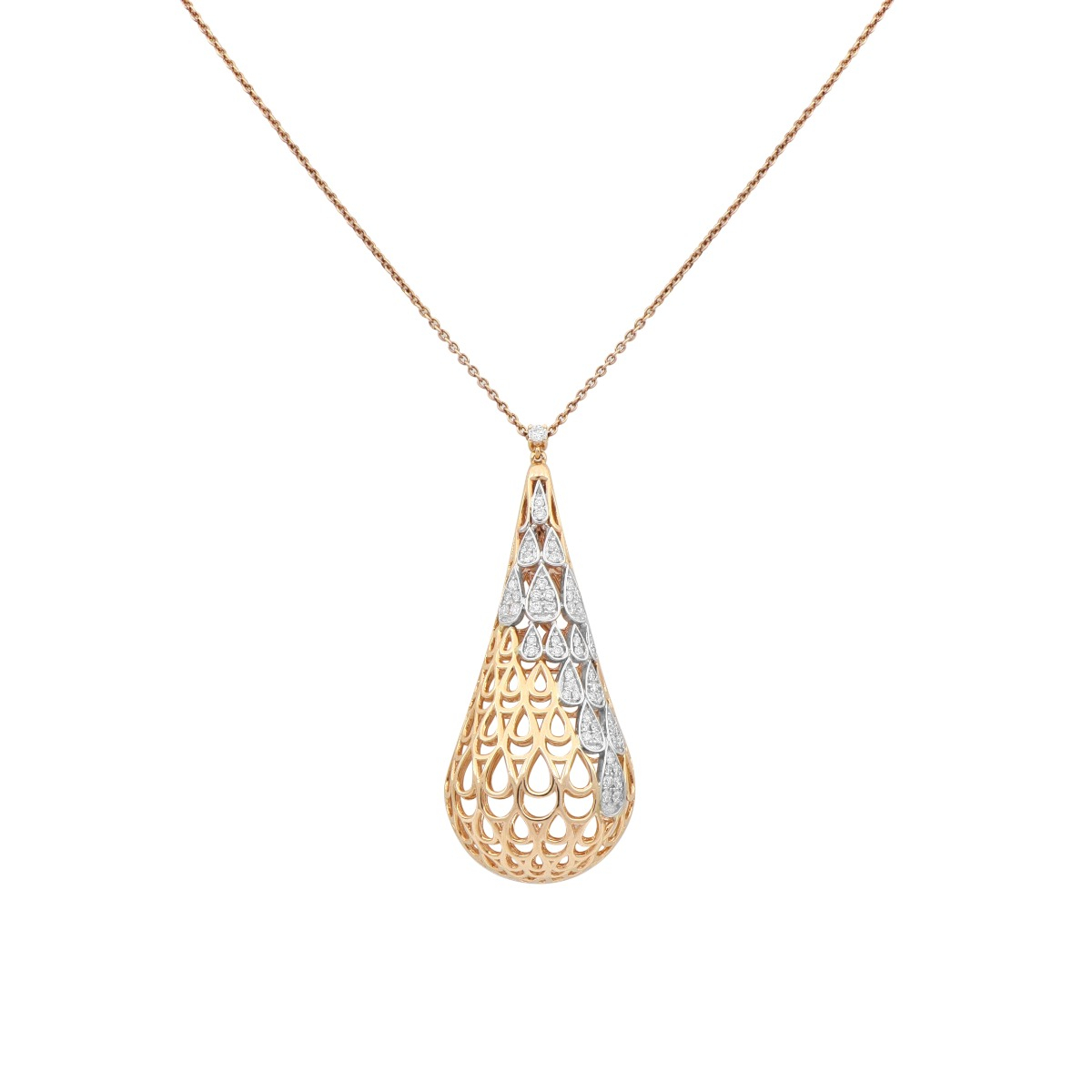 Rose and White Gold Drop Pendant Necklace