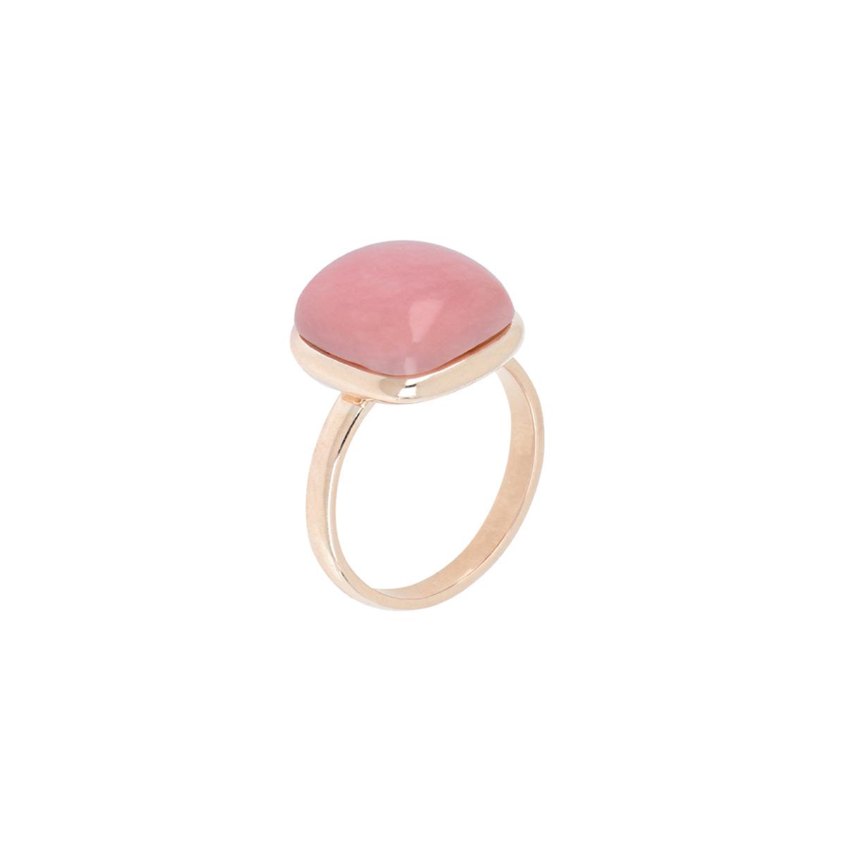 Cabochon Cut Pink Quartz Ring