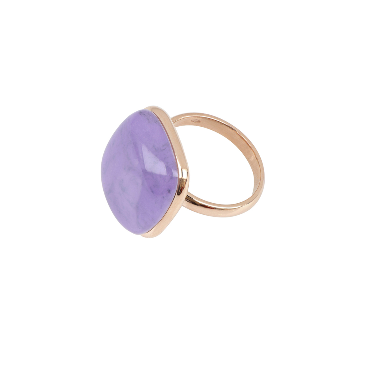 Cabochon Cut Quartz And Sugilite Stone Ring