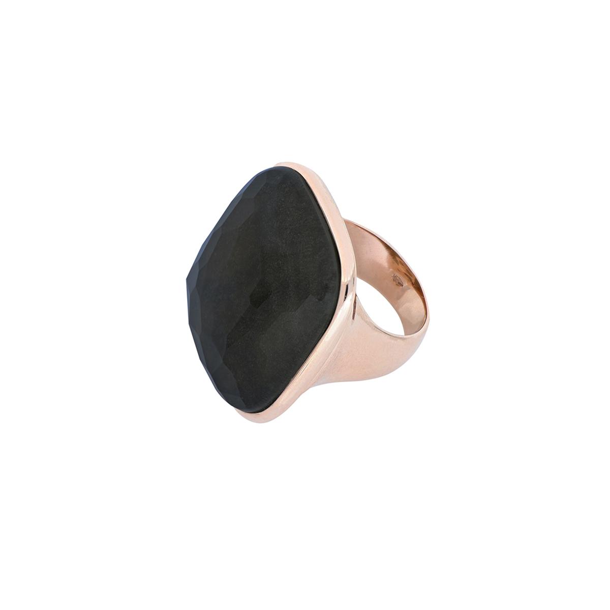Multiple Facet Cut Quartz And Silver Obsidian Ring