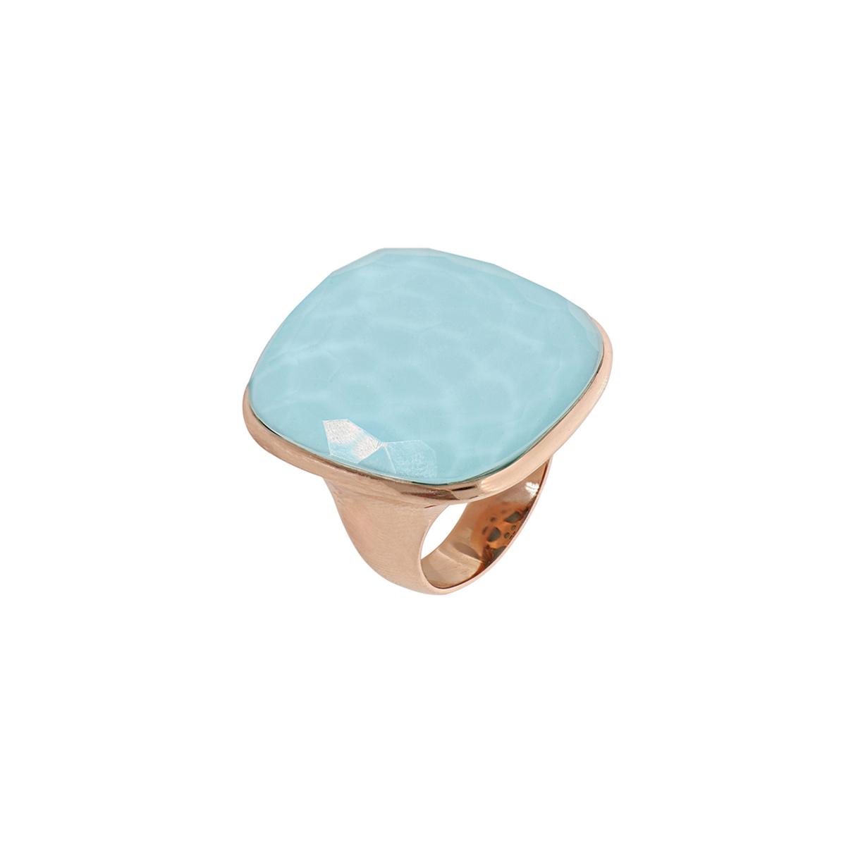 Multiple Facet Cut Quartz And Turquoise Ring