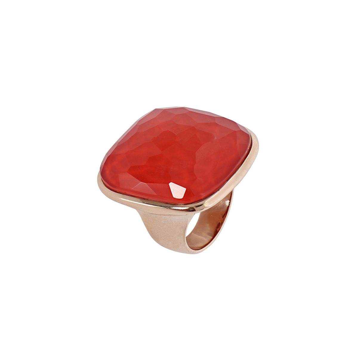 Multiple Facet Cut Rose Quartz And Red Coral Ring