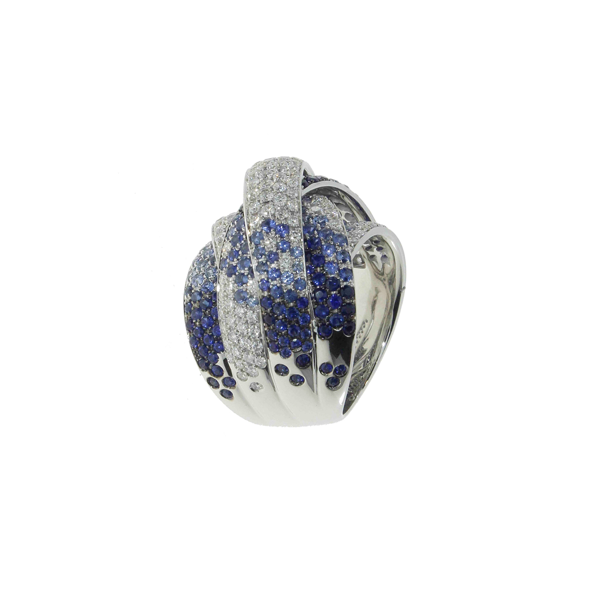 Intertwined Band Ring with Diamonds and Sapphires