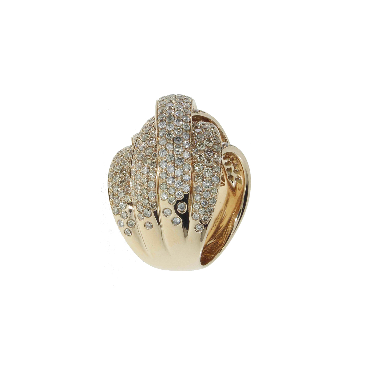 Intertwined Band Ring with White, Chocolate, and Grey Diamonds