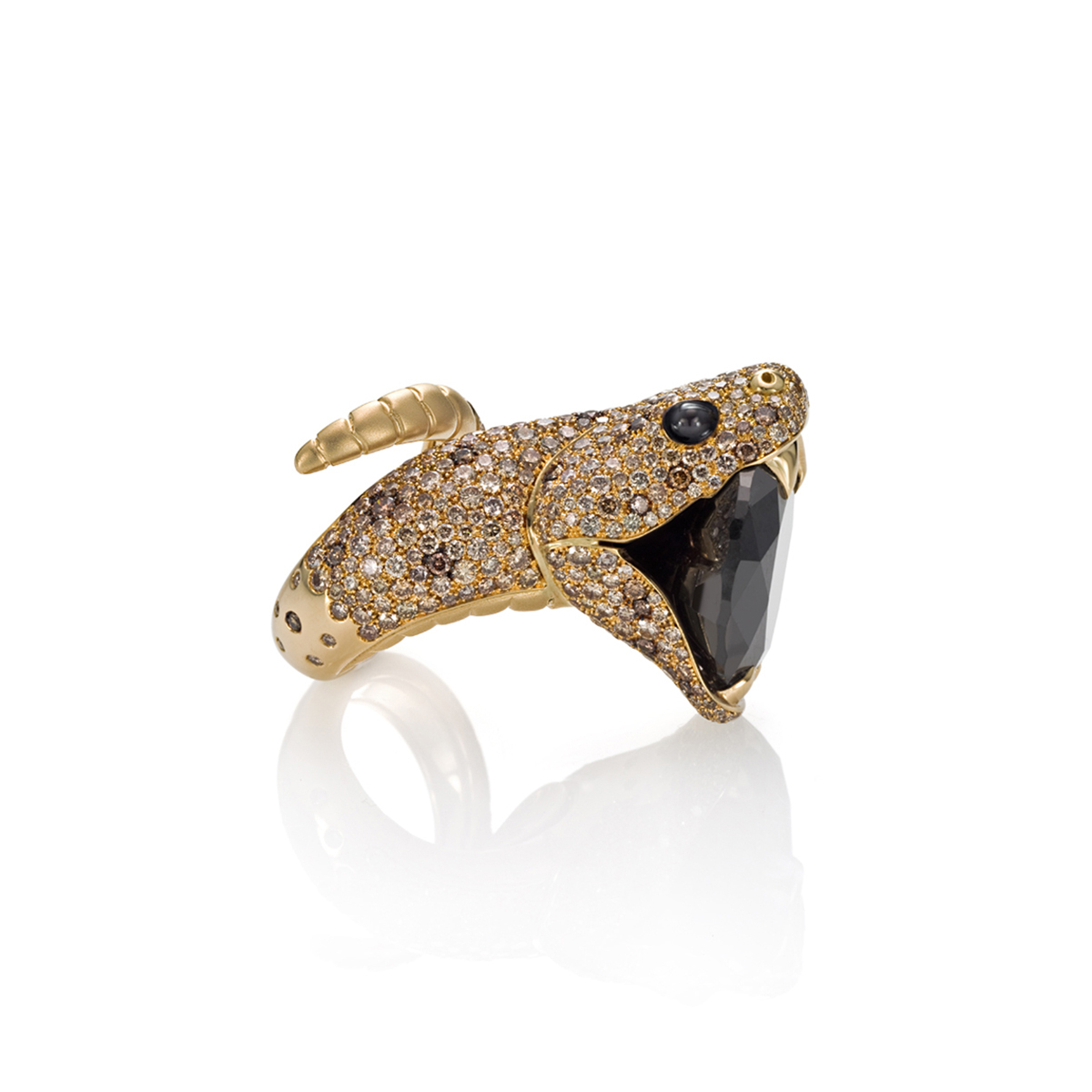 Black Diamond Snake Ring