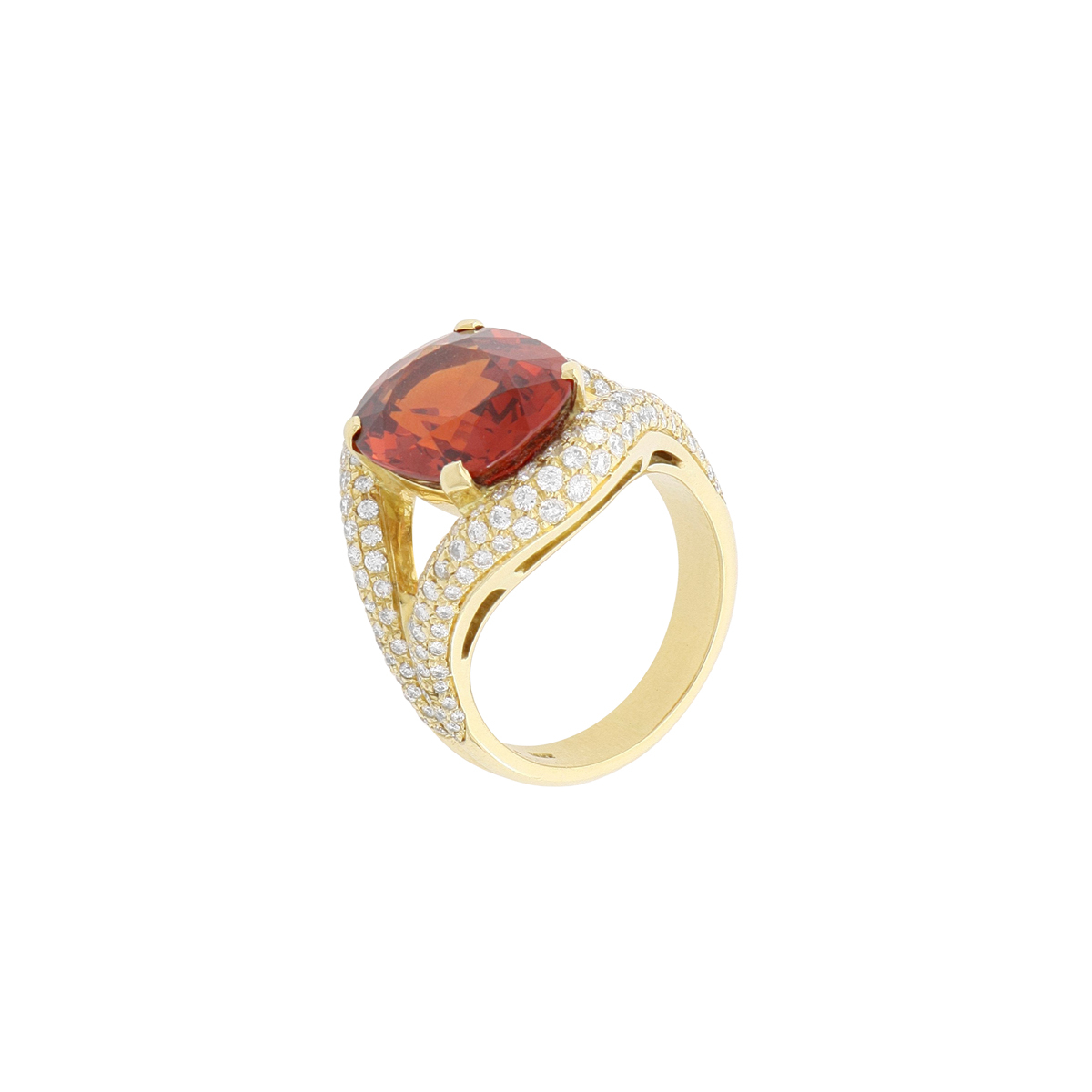 Beautiful red spinel and white diamonds ring