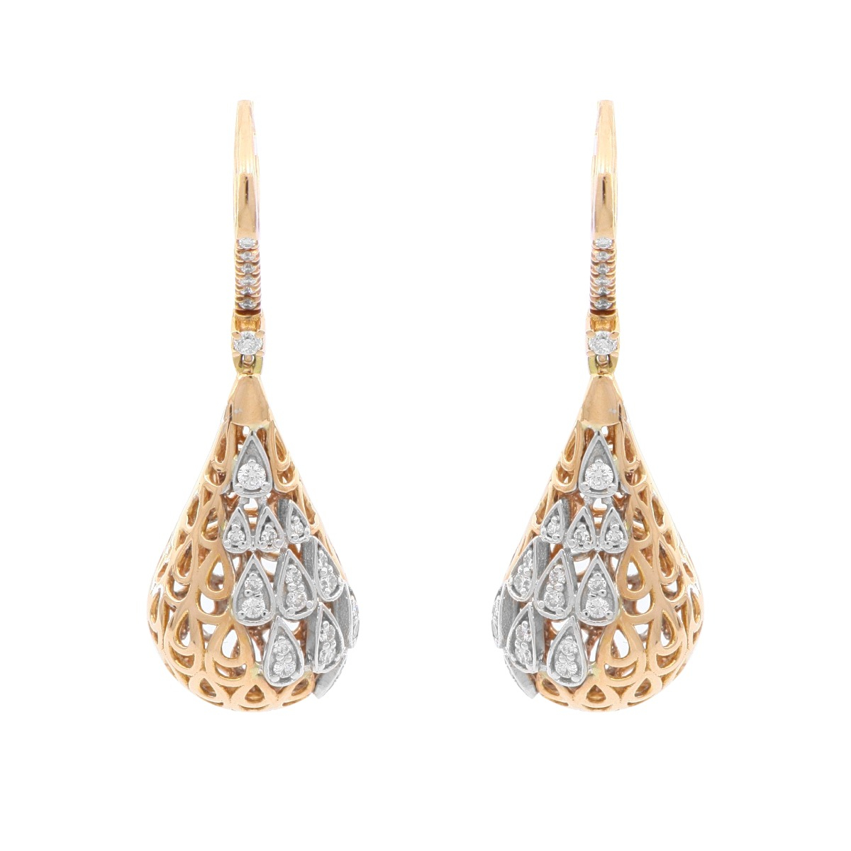Rose and White Gold Drop Earrings