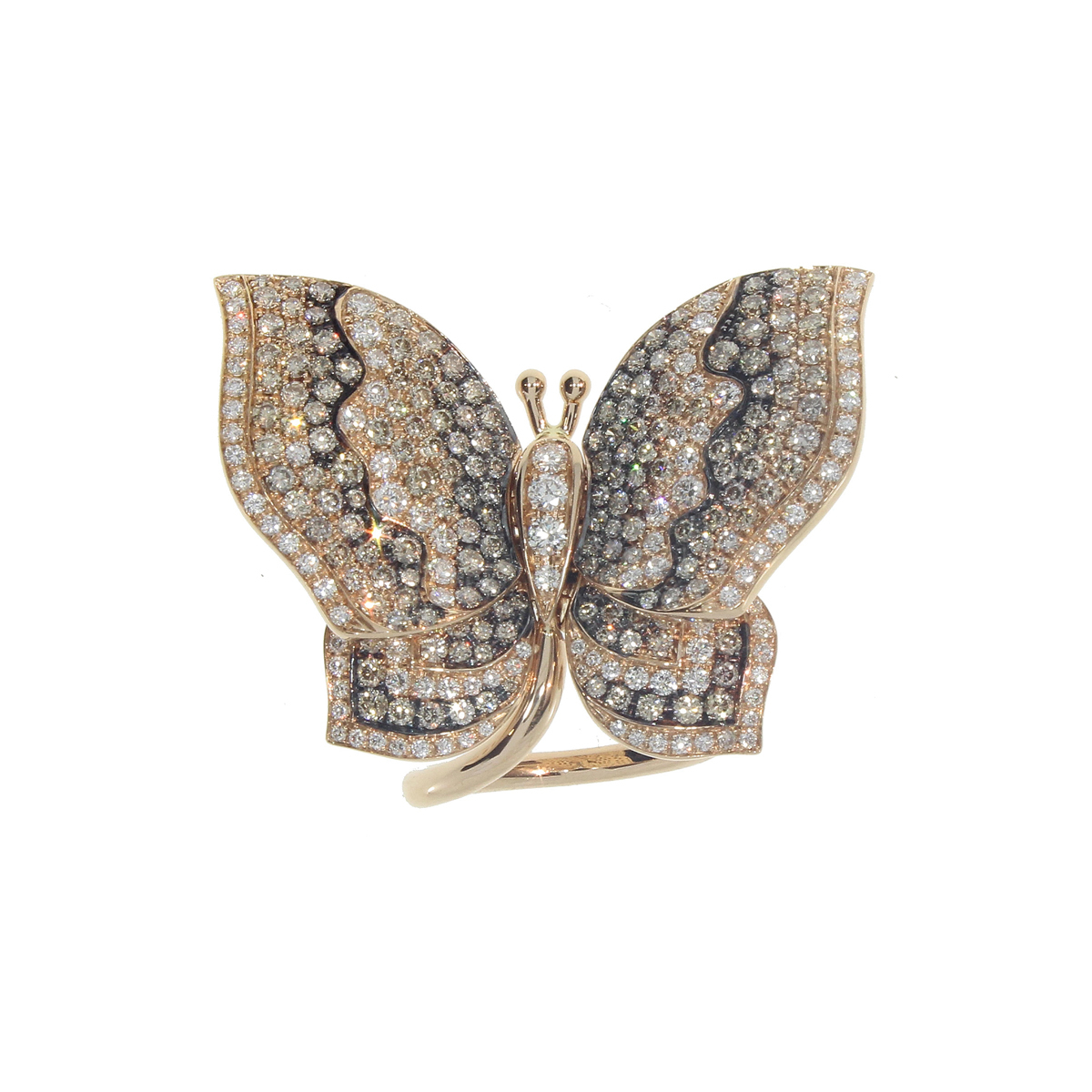 White and Chocolate Diamond Butterfly Ring