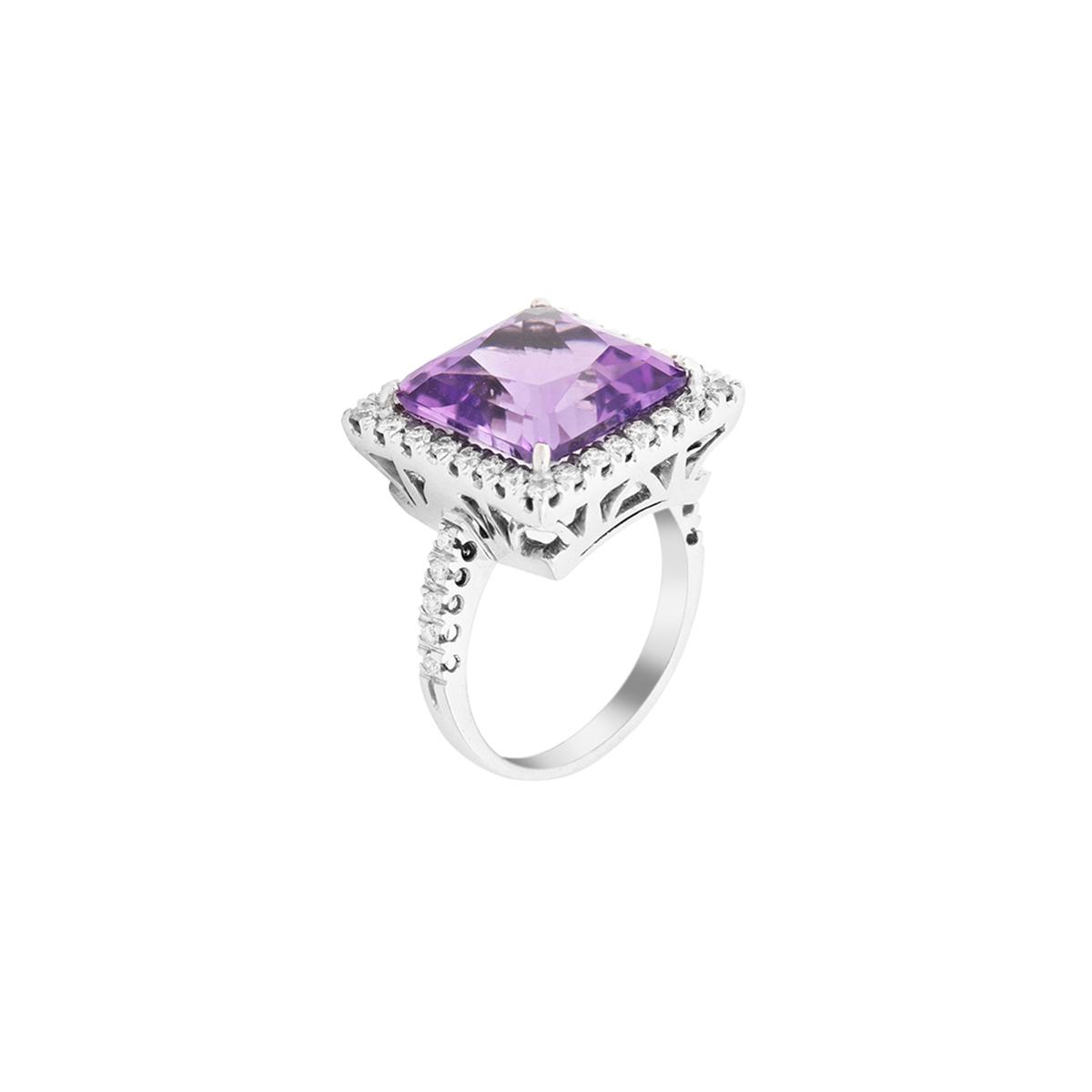 Princess-Cut Halo Amethyst and Diamond Engagement Ring