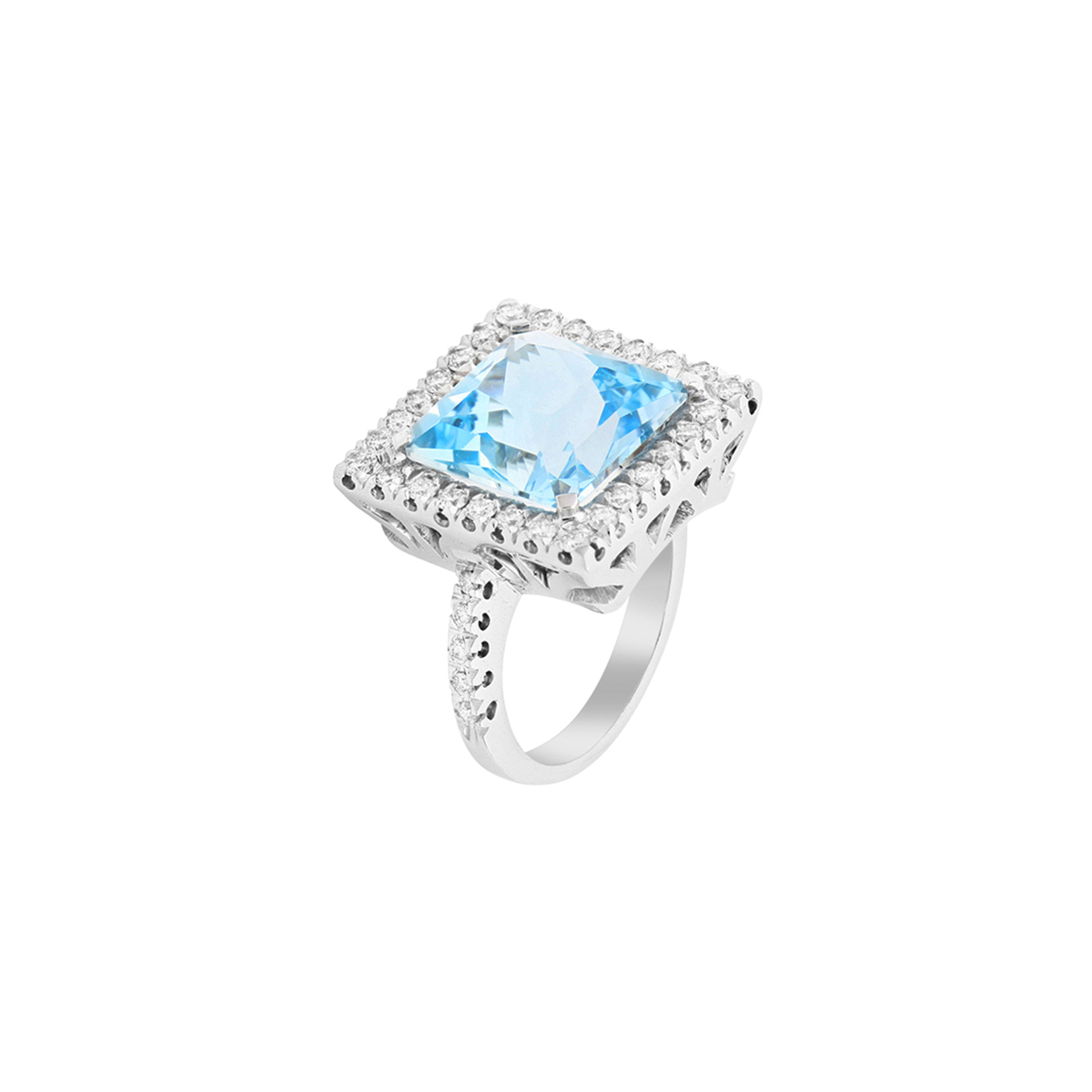 Princess Cut Topaz Ring with Diamond Halo